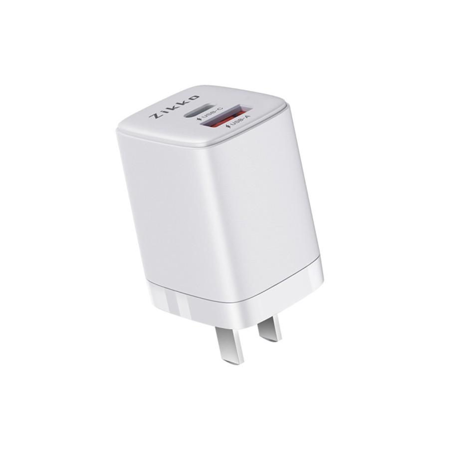 ZIKKO TRAVEL SMART ADAPTOR USB 20W C-20W2 WHITE