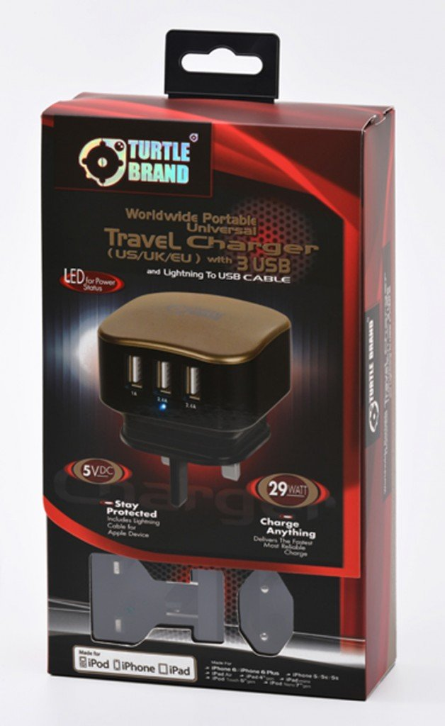 Turtle Brand Travel Charger with 3 usb  lightning plus  micro usb cable